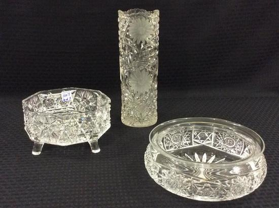 Lot of 3 Etched & Cut Glass Pieces