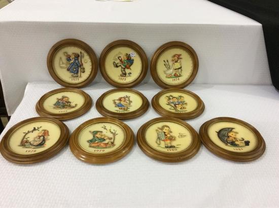 Lot of 10 Goebel Hummel Framed & Dated Plates
