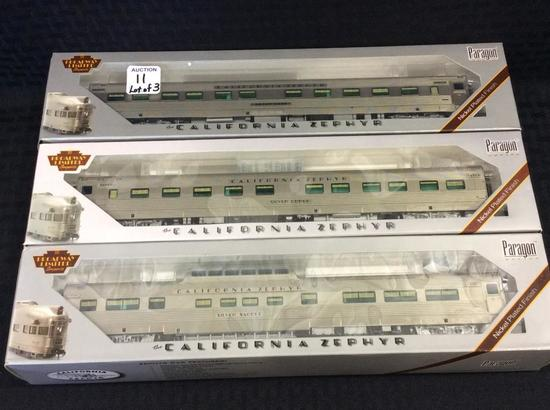 Lot of 3 HO Scale California Zephyr Cars-NIB