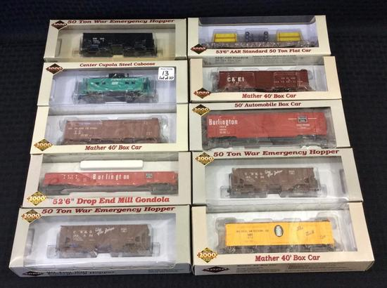 Lot of 10 Proto 2000 Series HO Scale Train Cars-
