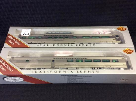 Lot of 2 HO Scale California Zephyr Cars-NIB