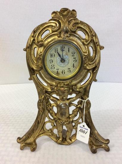 Brass Figural Cupid Design Wind Up Clock