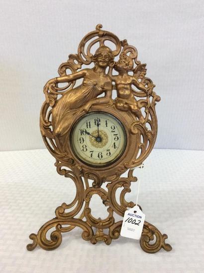 Metal Copper Ornamental Figural Wind Up Clock w/
