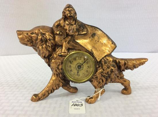 Metal Copper Dog Design Wind Up Clock