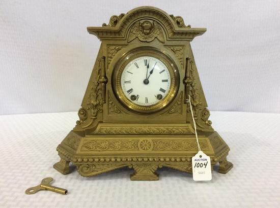 Ornate Metal Seth Thomas Keywind Clock w/