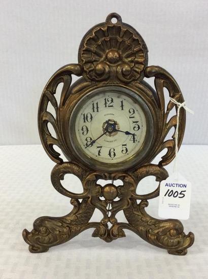 Brass Ornamental Wind Up Clock w/ Dial