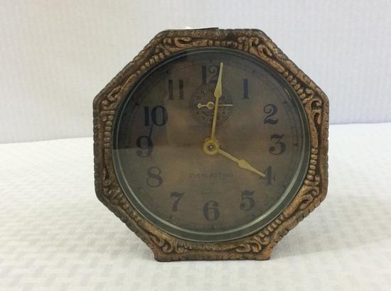Metal Octagon Case Wind UP Alarm Clock