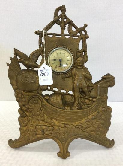 Ornamental Metal Brass Wind Up Clock