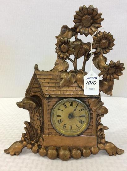 Ornamental Metal Copper Wind Up Clock w/ Dog