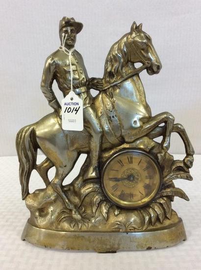 Ornamental Metal Figurial Clock w/ Horse