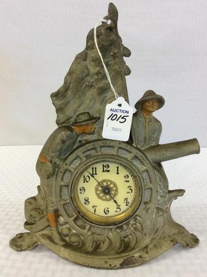 Ornamental Metal Wind Up Clock w/ Flag