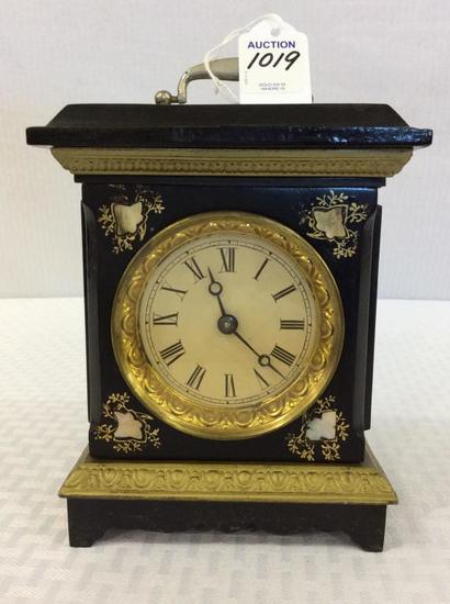 Sm. Iron Wind Up Clock w/ Mother of Pearl