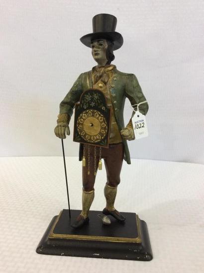 Metal Figural Male Statue w/ Sm. Hanging