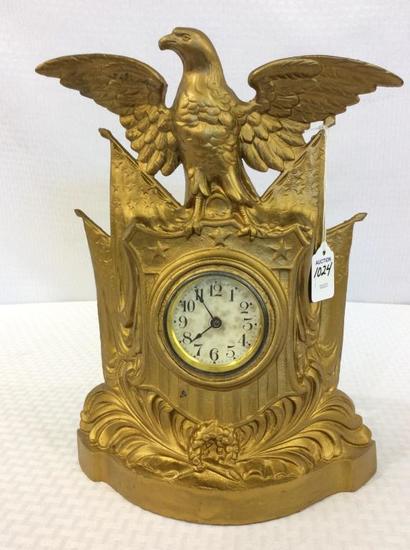 Metal Brass Flag & Eagle Design Figural Wind Up