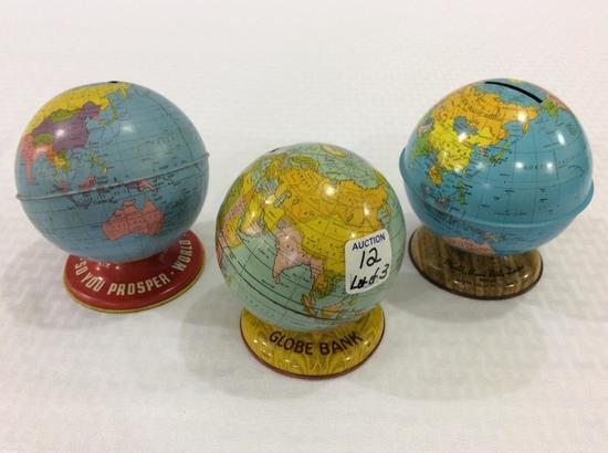 Lot of 3 Tin World Globe Banks