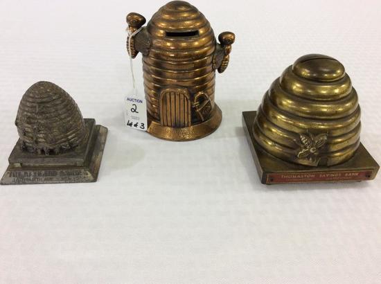 Lot of 3 Metal Beehive Design Banks