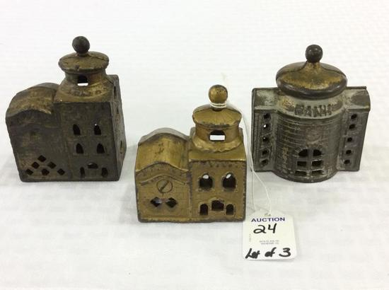 Lot of 3 Sm. Iron Bank & Building Banks