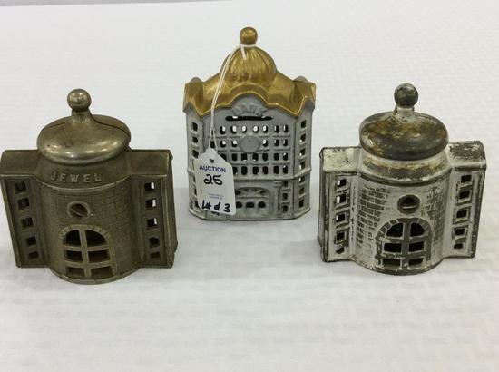 Lot of 3 Iron Bank & Jewel Building Banks