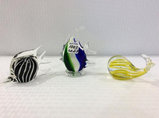 Lot of 3 Art Glass Fish