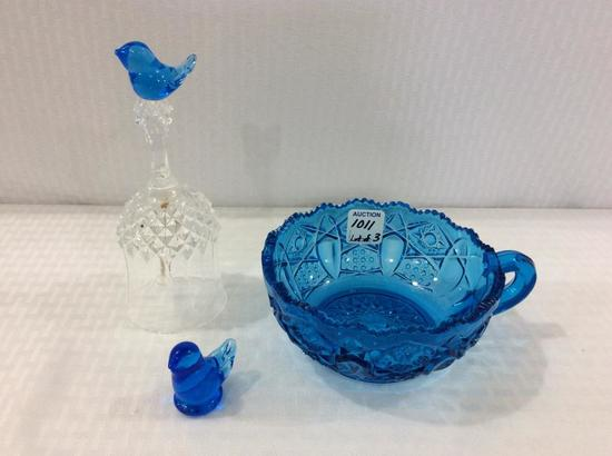 Lot of 3 Blue Glass Pieces Including
