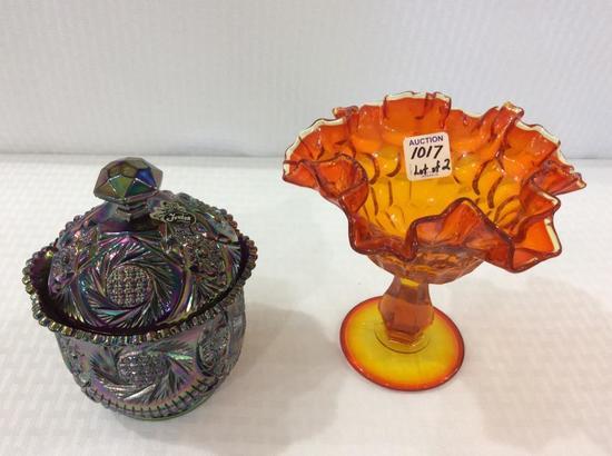 Lot of 2 Fenton Glassware Pieces Including