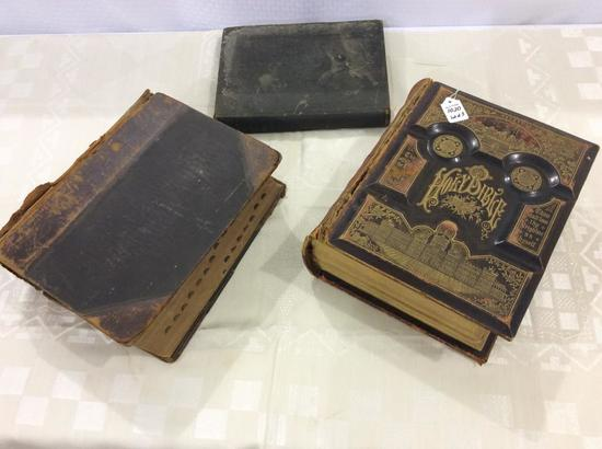 Lot of 3 Old Books Including Lg. 1800's
