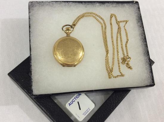 Ladies Elgin Gold Hunting Pocket Watch w/ Chain