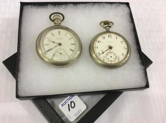 Lot of 2 Silver Open Face Elgin Pocket Watches