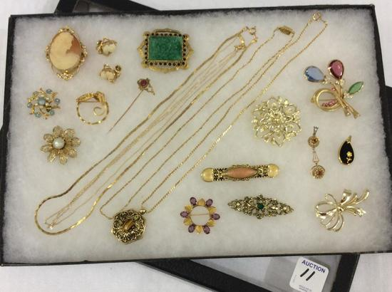 Collection of Ladies Gold Costume Jewelry