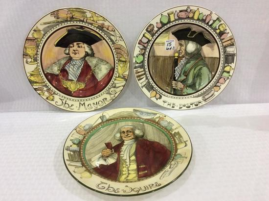 Lot of 3 Royal Doulton Figural Plates Including