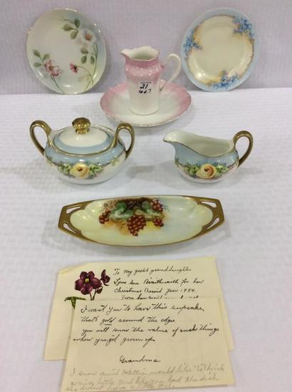 Lot of 7 Hand Painted Pieces Including