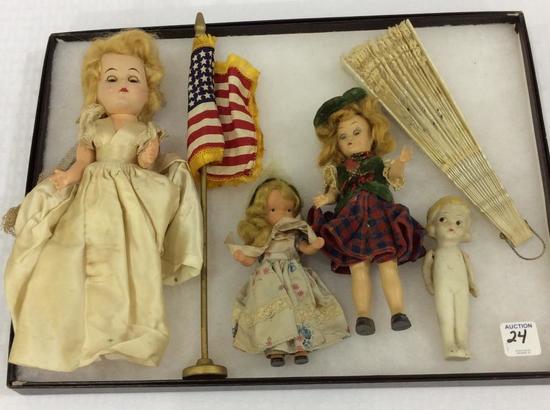 Group of Sm. Dolls Including Storybook,