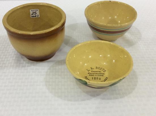 Lot of 3 Wattware Crock Bowls Including