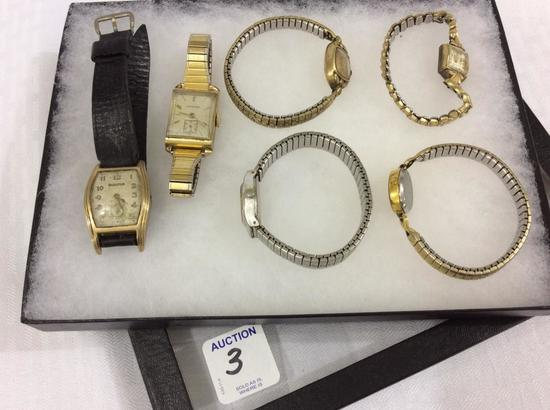 Lot of 6 Ladies Wrist Watches Including Bulova,