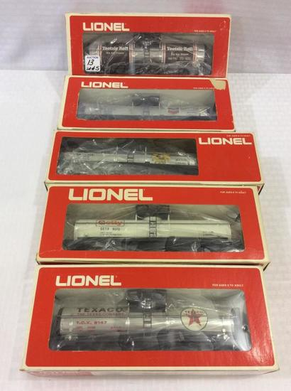 Lot of 5 Lionel O-Gauge Tank Cars in Boxes