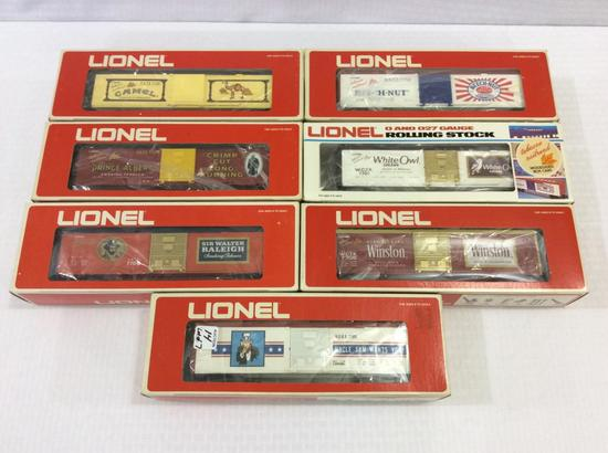 Lot of 7 Lionel O-Gauge Box Cars in Boxes