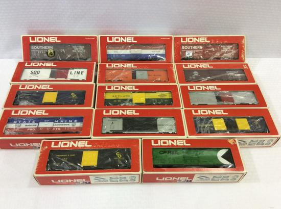 Lot of 14 Lionel O-Gauge Box Cars in Boxes