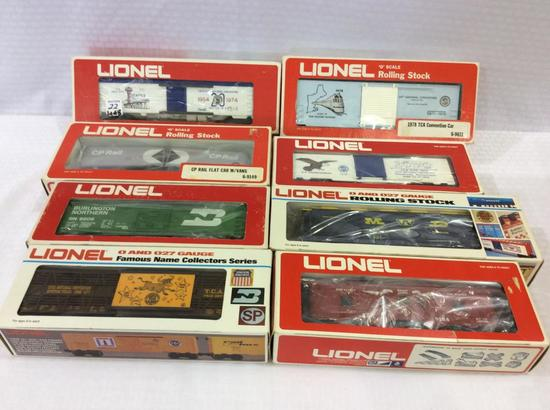 Lot of 8 Lionel 0-Gauge Train Cars in Boxes