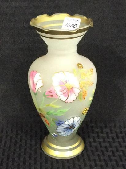 Floral Painted Satin Glass Vase w/ Gold Trim