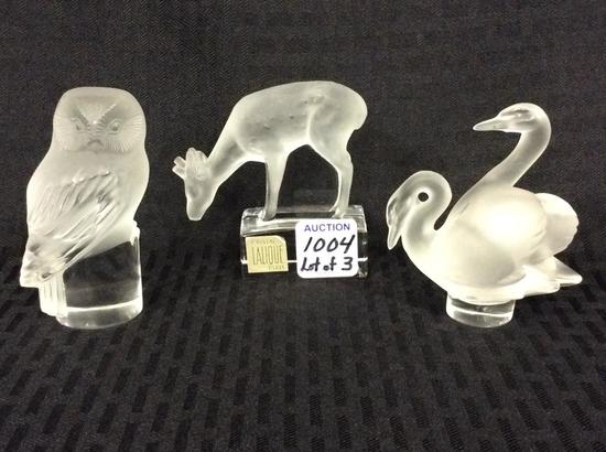 Group of 3 Lalique France Satin Glass Animal