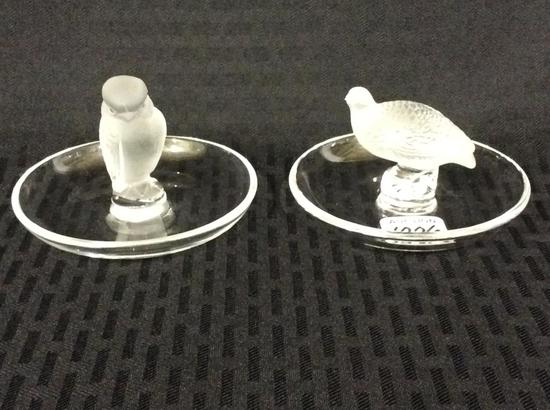 Lot of 2 Lalique France Satin Glass Pin Trays