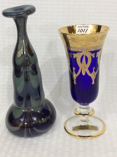 Lot of 2 Vases Including Italy Cobalt Blue