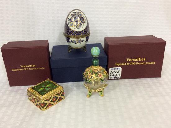Lot of 3 Sm. Trinket Boxes & Decorative Bottle