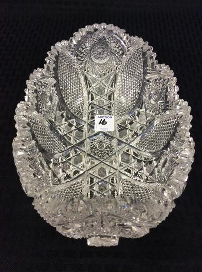 Ornate Brillant Oval Cut Glass Bowl