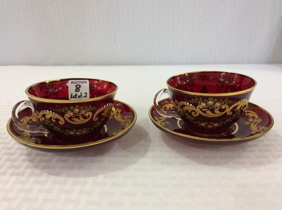 Pair of Moser Hand Painted Victorian Design