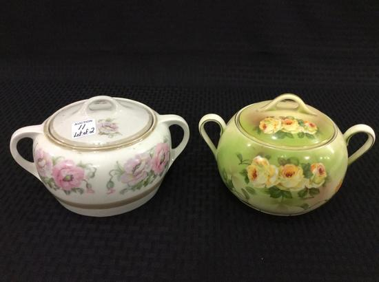 Lot of 2 Dbl Handle Floral Paint Cracker or