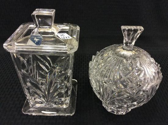 Lot of 2 Lead Crystal Lg. Covered Decorative Jars