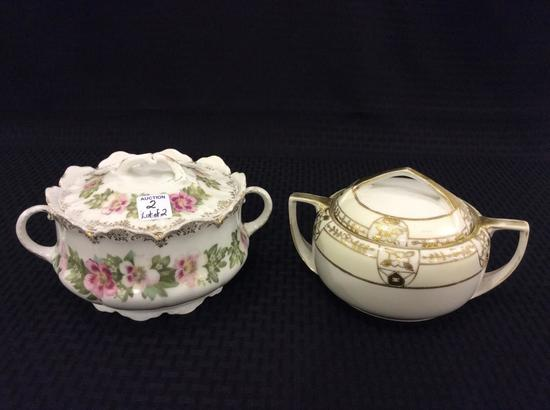 Lot of 2 Dbl Handle Cracker or Biscuit Jars