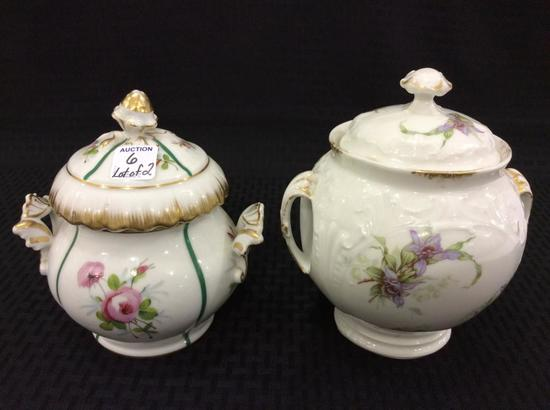 Lot of 2 Floral Paint Dbl Handled Cracker or