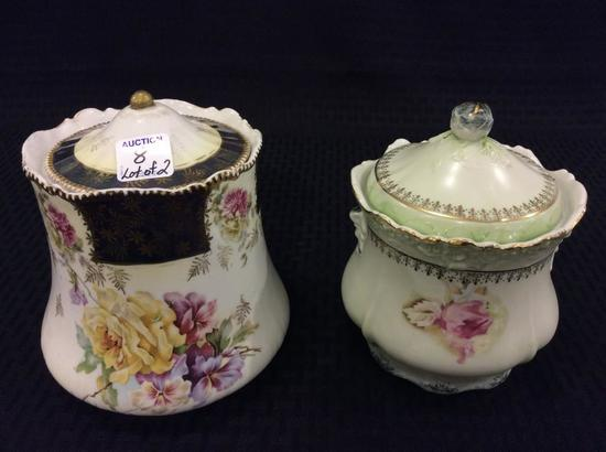 Lot of 2 Floral Decorated Cracker or Biscuit Jars